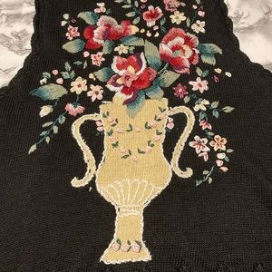Vintage Capacity embroidered button sweater vest size medium